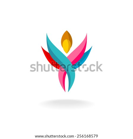 Abstract human figure logo. Colorful shapes.Woman with wings and upward hands. - stock vector