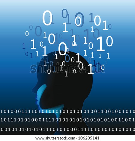 Abstract human head with many binnary codes - stock vector