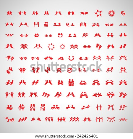 Abstract Human Symbols Set: Success, Celebration, Achievement, Activity, Team, Friends, Friendship - Isolated On Gray Background - Vector Illustration, Graphic Design Editable For Your Design - stock vector