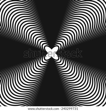 Abstract, hypnotic background on black and white, vector illustration - stock vector