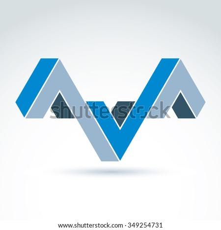 Abstract icon, corporate geometric symbol, vector graphic design element.