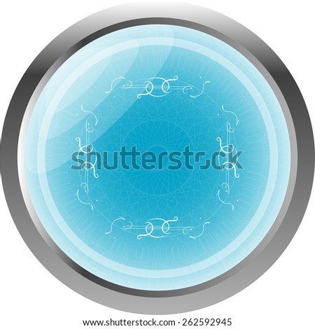 abstract icon on glossy web button - stock vector