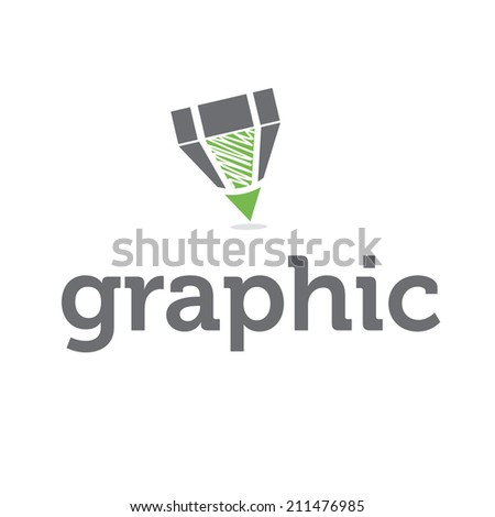 Abstract icon pencil with text - stock vector