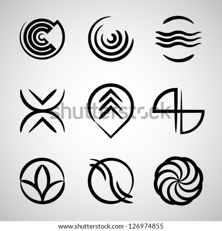 Abstract icons collection, simple symbols vector set. - stock vector