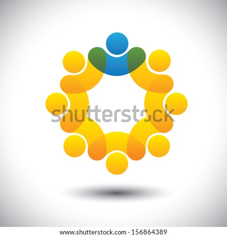 Abstract icons of employees team & manager in circle - concept vector. This icon graphic can also represent concept of leader and leadership, supervisor and staff, community members and leader, etc - stock vector