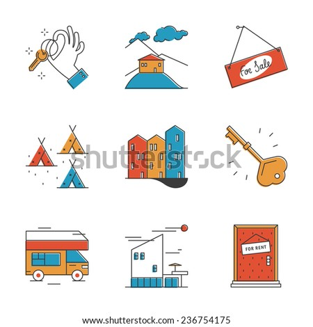 Abstract icons of house rental service, search real estate, rest in camping and recreation activity, buy and sell apartment. Unusual flat design line icons set unique art vector illustration concept. - stock vector