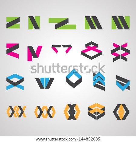 Abstract Icons Set - Isolated On Gray Background - Vector Illustration, Graphic Design Editable For Your Design. Abstract Logo - stock vector