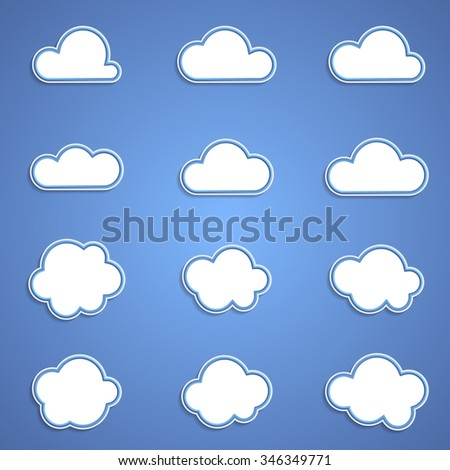 Abstract icons - set of white clouds