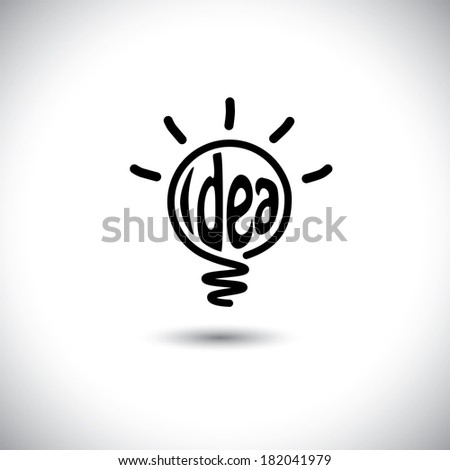 abstract idea bulb glowing - concept vector icon. This graphic also represents creative problem solving, genius mind, smart thinking, inventive mind, innovative man, abstract thought - stock vector