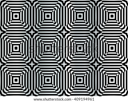 Abstract illusion texture pattern of geometric shapes of squares of lines on a gray gradient background