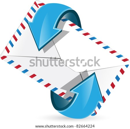 abstract illustration, blue arrow around postal envelope