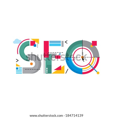 Abstract Illustration concept - SEO word - Search Engine Optimization - Original Creative Sign in flat design style for success internet searching. Vector logo template. - stock vector