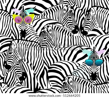Abstract Illustration Herd Of Zebras Animal Seamless Pattern Fashion Striped Print Color Black
