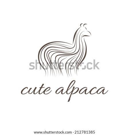 Abstract illustration icon of alpaca - stock vector