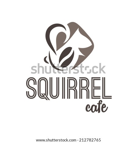 Abstract illustration icon of squirrel and coffee - stock vector