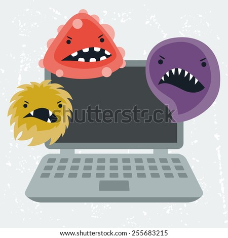 Abstract illustration laptop infected with angry viruses. - stock vector