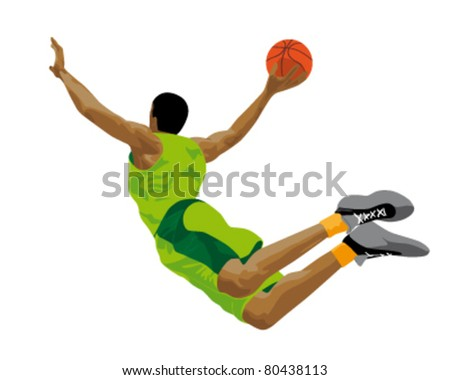 abstract illustration of a basketball player - stock vector