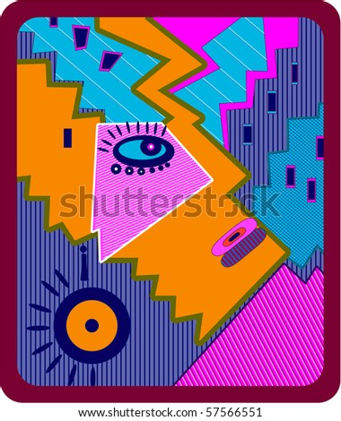 Abstract illustration of a human face with big eye