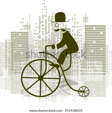 Abstract illustration of a man on a retro bicycle - stock vector