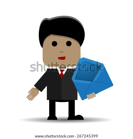 Abstract illustration of a man with a blue envelope - stock vector