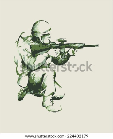 Abstract illustration of a soldier kneel down aiming a weapon - stock vector