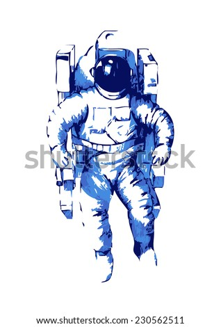Abstract illustration of an astronaut  - stock vector