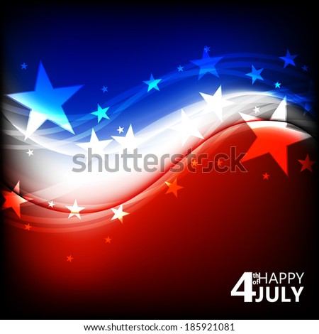 Abstract Illustration of an Independence Day wave Design - 4 of july - stock vector
