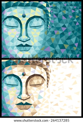 Abstract illustration of Buddha in 2 versions. No transparency and gradients used.  - stock vector