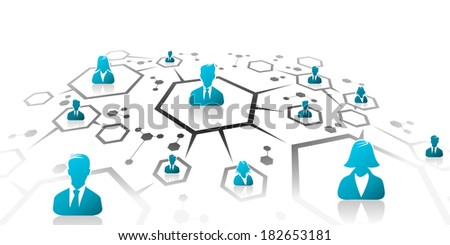 Abstract illustration of business network grid - stock vector