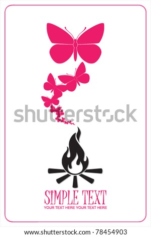 Abstract illustration of  fire and butterflies instead of a smoke. Place for your text.