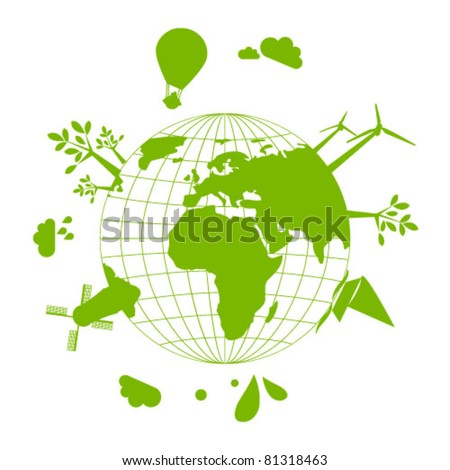 Abstract illustration of green Earth - concept of ecology