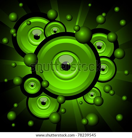 abstract illustration of green explosion with eyes and balls - stock vector