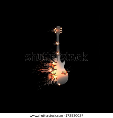 Abstract  illustration of guitar, easy all editable - stock vector