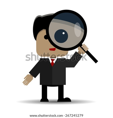 Abstract illustration of man with a magnifying glass - stock vector