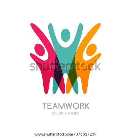 Abstract illustration of multicolor people silhouette. Vector logo design template. Concept for social network, partnership, teamwork, creativity, friendship, business cooperation, sport team.