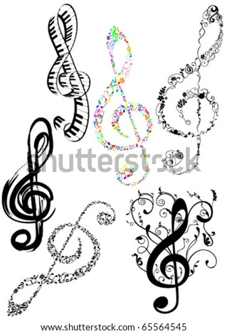 Abstract illustration of some G clef on white background - stock vector
