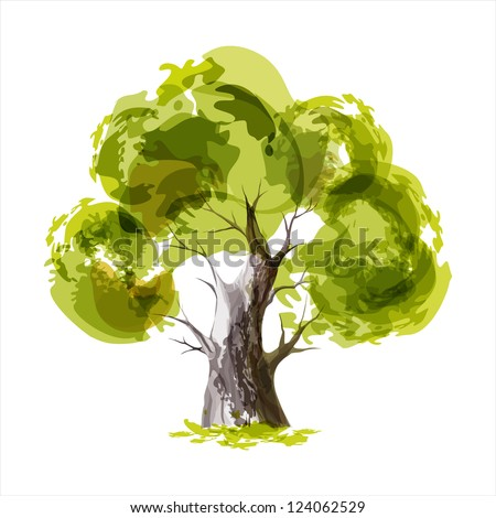 Abstract illustration of stylized green tree - stock vector