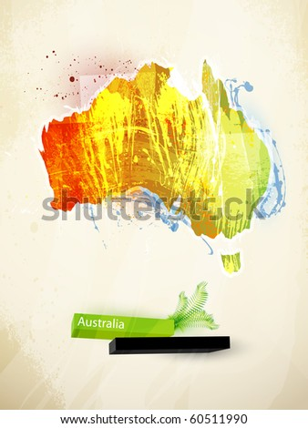 abstract illustration of the continent Australia - stock vector