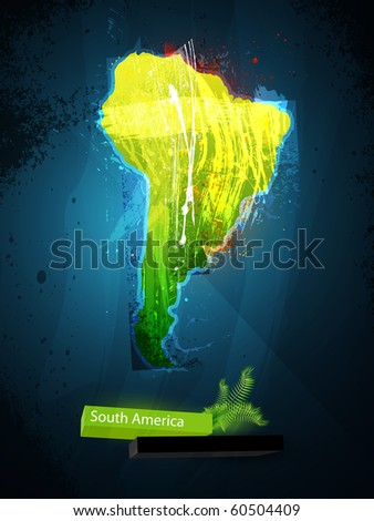 abstract illustration of the continent South America - stock vector