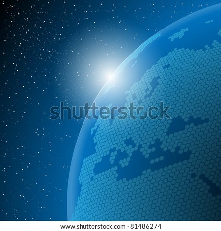 Abstract illustration of the planet earth in outer space. Vector. - stock vector