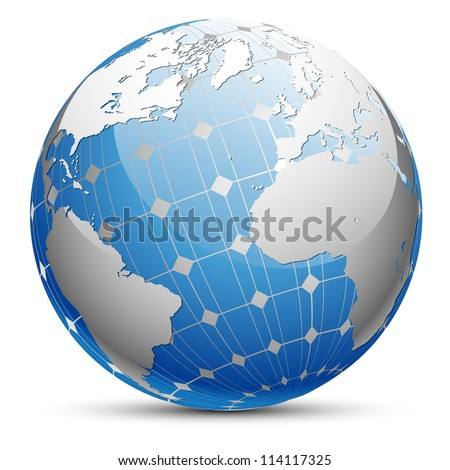 Abstract illustration of the planet Earth with a solar panel. Vector. - stock vector