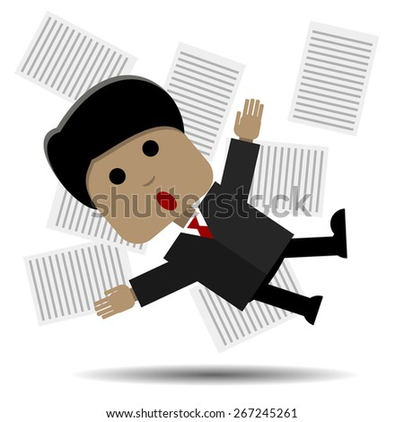 Abstract illustration panicked man in a suit - stock vector