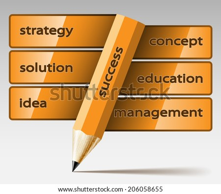 Abstract illustration pencil with inscription, on a light background. Business icon. Vector. - stock vector