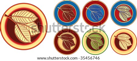 abstract illustration web color icon of leaves