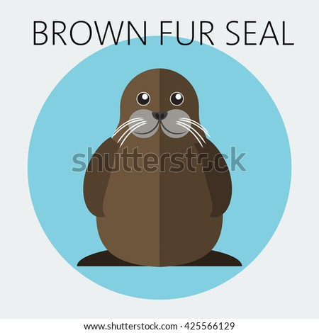 Abstract illustration with a walrus in a round blue frame, over an white background. Digital vector image.