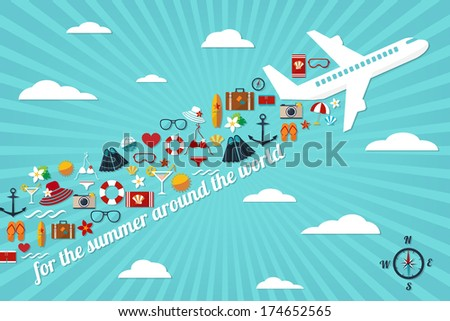 """abstract illustration with airplane in the blue sky with fall summer things and slogan """"for the summer around the world"""" vector card template - stock vector"""