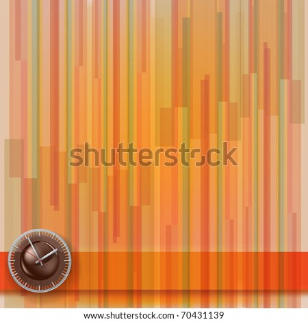 abstract illustration with clock on stripes background - stock vector