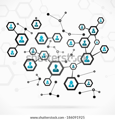 Abstract illustration with complex business network - stock vector