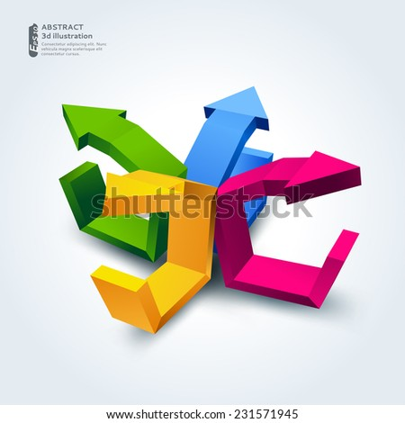 Abstract illustration with 3d arrows, can be used for business presentations, website background, brochure cover
