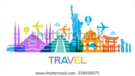 Abstract illustration with famous landmarks. Vector, EPS 10, contains transparency. - stock vector
